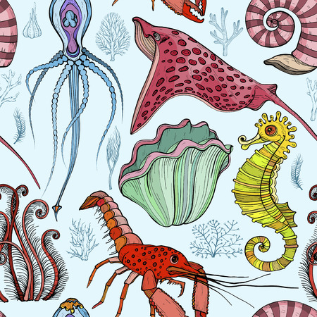 Seamless pattern with hand drawn deepwater living organisms