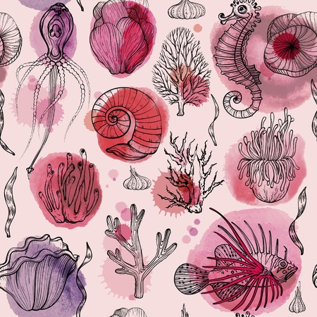 Seamless pattern with watercolor deepwater organisms Illustration