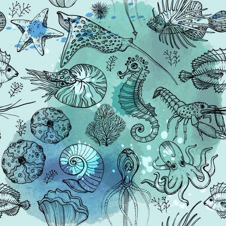 Seamless pattern with watercolor deepwater living organisms Illustration