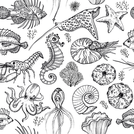 Seamless pattern with hand drawn marine life. Black and white