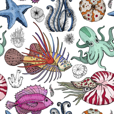 Seamless pattern with deepwater organisms