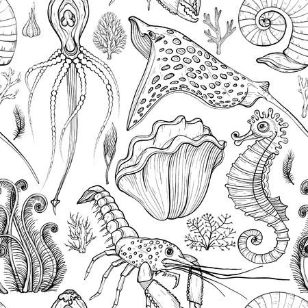 Seamless pattern with hand drawn deepwater living organisms. Black and white Illustration