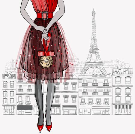 Christmas and new year fashion vector card. Cute Paris city holiday design