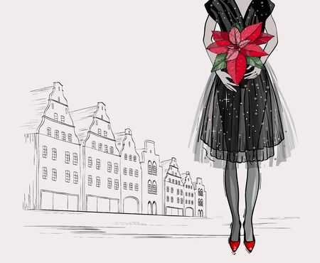 Christmas and new year fashion vector card. City Holidays illustration with gift Christmas plant poinsettia. Sketch style.