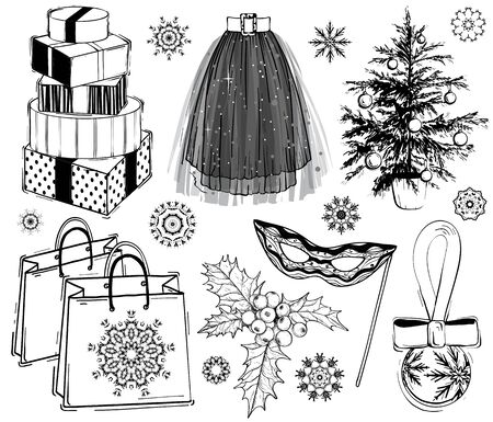 Christmas and new year fashion vector set. Holidays illustration with gift boxes and Christmas tree plant, mask, shopping bags and party skirt, black and white. Sketch style.