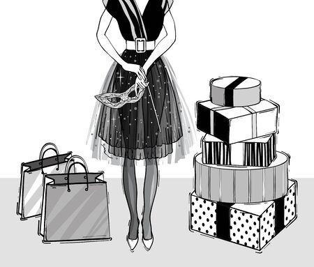 Christmas and new year fashion vector card. Holidays illustration with gift boxes, black and white . Sketch style.