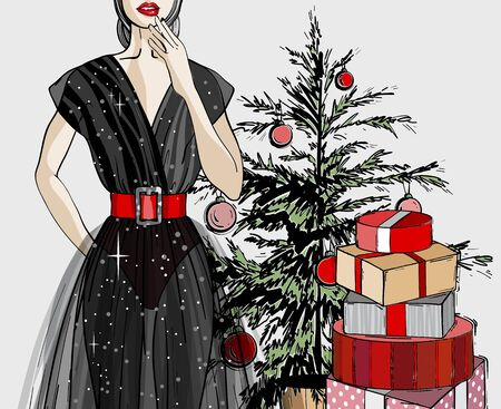 Christmas and new year fashion vector card. Holidays illustration with gift boxes and Christmas tree.Sketch style. Illusztráció