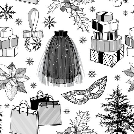 Christmas and new year fashion vector seamless pattern. Holidays illustration with gift boxes and Christmas tree plant, mask, shopping bags and party skirt. Black and white. Sketch style.