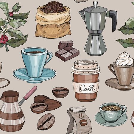 Seamless pattern with coffee party Collection. Hand drawn retro illustration with coffee 일러스트