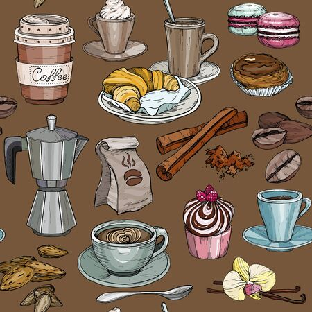 Seamless pattern with coffee party Collection, cakes and sweets icons. Hand drawn . Illustration
