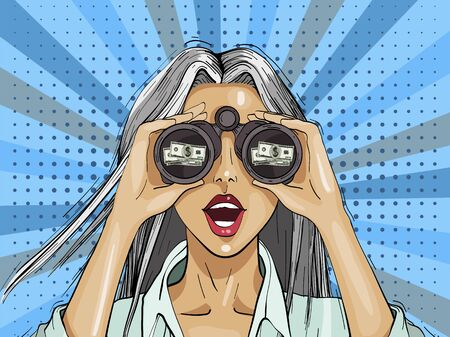 Pop art surprised woman with binoculars with a dollar sign, open mouth, surprised facial expression. Pop art retro comic style.