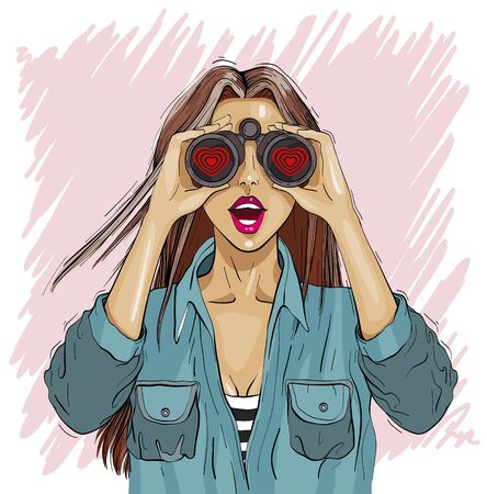 Surprised woman with binoculars with open mouth, surprised facial expression. Love partner search. Vector illustration