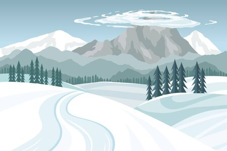 Winter landscape, snowy mountains on a blue sky with clouds, vector illustration.