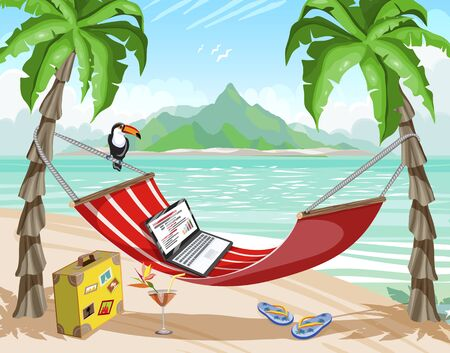 Travel poster, office on a tropical island, remote work. Office on hot tropical beach cartoon flat vector illustration.