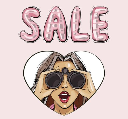 Sale concept. Surprised woman with binoculars with open mouth, surprised facial expression. Vector illustration