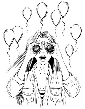 Surprised woman with binoculars with open mouth, surprised facial expression. Black and white Illustration
