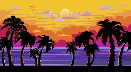 A Beautiful Sunset, Sunrise with Palm Trees Ilustracja