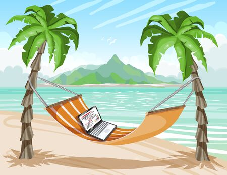 Travel poster, tropical island, remote work. Laptop on hot tropical beach, vector illustration.