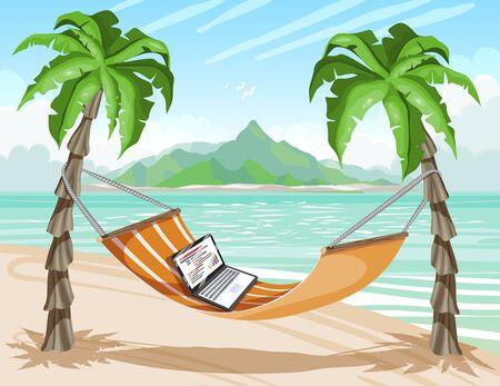 Travel poster, tropical island, remote work. Laptop on hot tropical beach, vector illustration. Иллюстрация