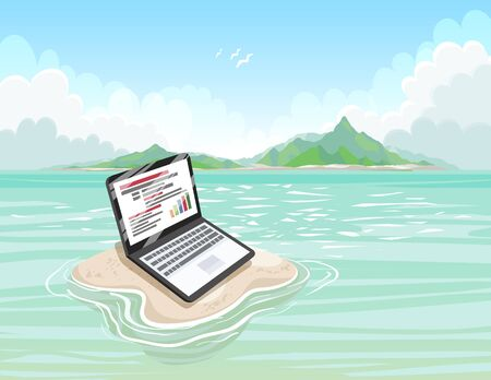 Sandy island with a laptop on a sunny day. Freelance or Blogging concept. Work with pleasure.