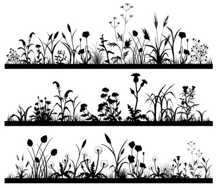 Silhouette of Field flowers and garden grass landscape set, butterfly Ilustracja