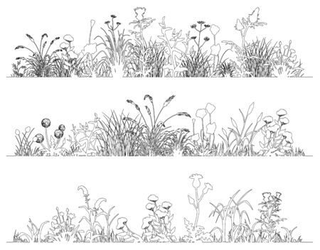 Field flowers and grass landscape set, line art, vector illustration Ilustracja
