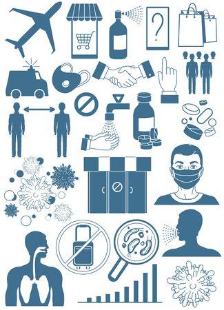 Coronavirus Bacteria Icons, 2019-nCoV. Coronavirus Bacteria. Stop Coronavirus Concept.