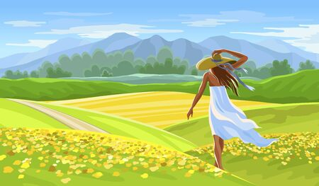 Girl in white dress on Summer beautiful landscape with rapeseed field. Provence landscape