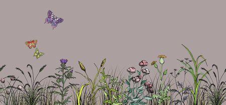 Field butterflys over flowers and grass landscape Ilustracja