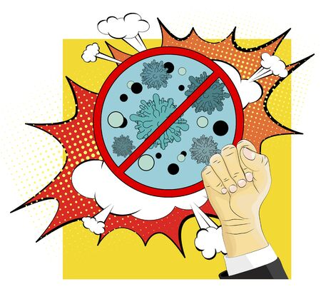Stop Coronavirus COVID-19 Bacteria Concept. Pop art Ilustracja