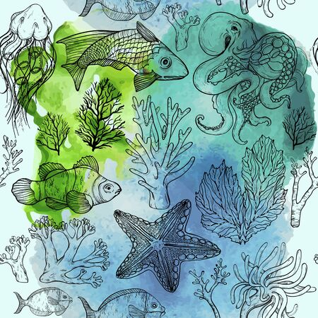 Seamless watercolor pattern with sketch of deepwater living organisms, fish and algae Vettoriali