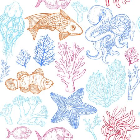Seamless pattern with sketch of deepwater living organisms, fish, corals and octopus
