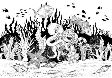Seamless pattern with Hand drawn sea coral reef, oceanic animal. Black and white