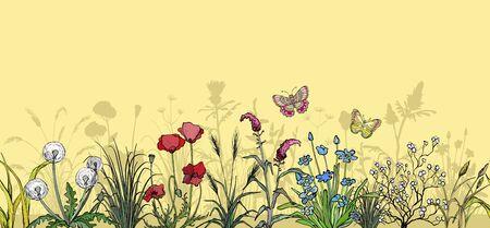 Field flowers and grass landscape Ilustracja