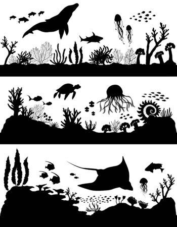 Silhouette of sea coral reef, oceanic animal set. Vector illustration. Ilustracja