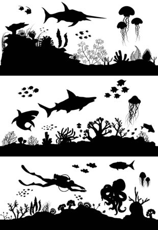 Silhouette of Hand drawn sea coral reef, oceanic animal set. Vector illustration.