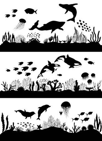 Silhouette of sea coral reef, oceanic animal set.
