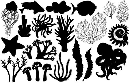 Silhouettes of deepwater living organisms, fish and algae, vector illustration.
