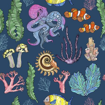 Seamless pattern with sketch of deepwater living organisms, fish and octopus