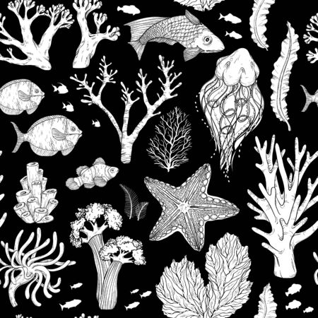 Seamless pattern with Black and white deepwater living organisms, fish and algae Vettoriali