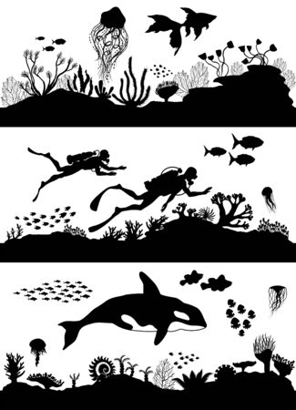 Silhouette of sea coral reef, oceanic diving set. Vector illustration.