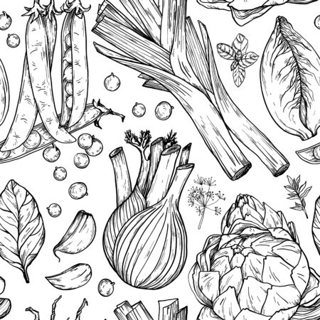 Seamless pattern with nature mediterranean vegetables. Fresh organic food. Vegetables vintage Hand-drawn sketch. Black and white