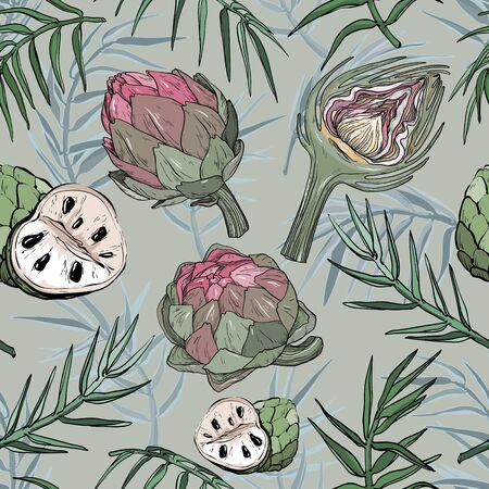 Vector seamless pattern with hand drawn artichoke and cherimoya