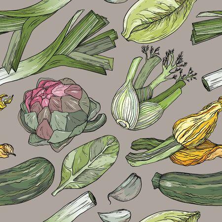 Seamless pattern with nature mediterranean vegetables. Fresh organic food. Vegetables vintage Hand-drawn sketch. Vettoriali