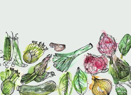 Vegetables Hand-drawn watercolor background with nature mediterranean vegetables. Fresh organic food.