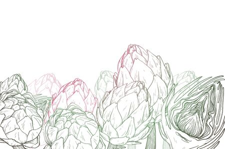 Vector hand drawn graphic background with artichokes.
