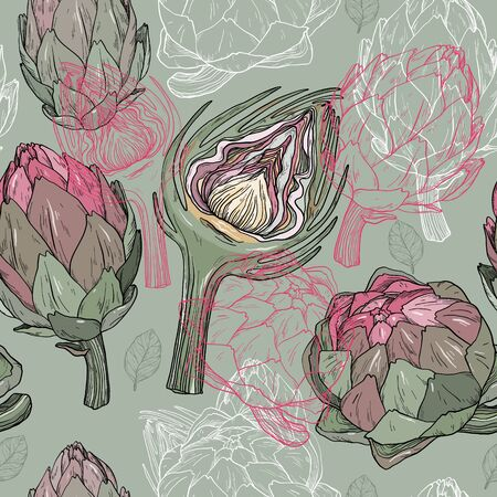 Vector seamless pattern with hand drawn artichoke