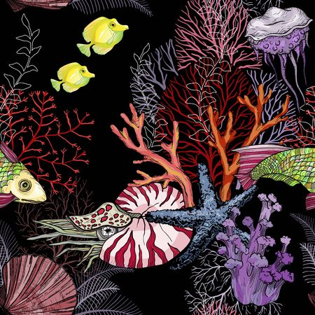 Seamless pattern with dark ocean night, hand drawn marine life.