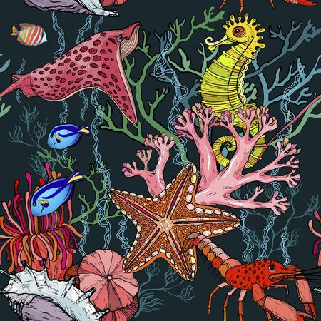 Seamless pattern with ocean night with marine life. Vettoriali