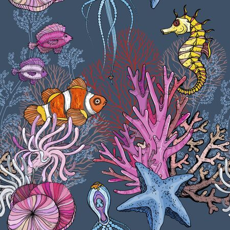 Seamless pattern with ocean marine life, clown fish in anemones